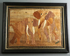 Tolles Elefanten Bild, Collage aus Naturmaterialien, signiert, gerahmt 39x31cm.