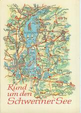 Alte topografische Postkarte Rund um den Schweriner See 1974