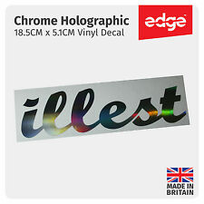 18.5CM ILLEST Decal Sticker Silver Hologram Neo Chrome JDM DUB Dapper Vinyl Car