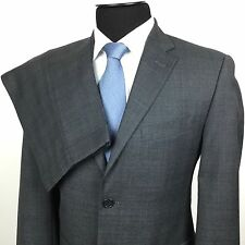 TOMMY HILFIGER Mens 38S/32 Gray Blue Glen Plaid 2-Button Wool Suit~Pleated Pants