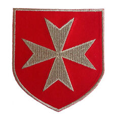 MALTESE CROSS CHRISTIAN ARMY CRUSADERS KNIGHTS SILVER METALLIC EMBROIDERED PATCH