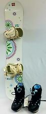 141 White Roxy Snowboard w/ Roxy bindings and black and Blue Roxy Boots fitted