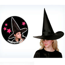 Hot Black Taffeta Witch Hat Classic Gothic Dress Up Halloween Costume Accessory
