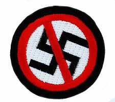 PATCH PATCHES ANTI NAzI NO RACISM SWASTIKA IRON ON EMBROIDERED EMBLEM