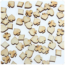 50pcs WOODEN MINI MIXED WOOD POKER CLUB SPADES HEART DIAMOND MAKING SCRAPBOOKING