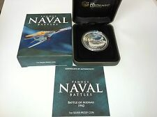 2011 $1 MIDWAY FAMOUS NAVAL BATTLES 1oz SILVER COLOURED PROOF COIN