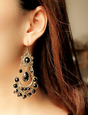 1 Pair Party Long And Heavy Black Stones Studded Earrings Gift