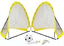 2 x INSTANT popup PORTATILE Football Soccer Goal Reti, Palla, Pompa & esegue il pegging Outdoor