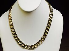 """10kt solid gold handmade Curb Link mens Chain Necklace 20"""" 72 grams 13MM"""