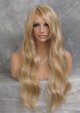 Human Hair Blend Blonde Slightly wavy Layerer Long Bangs Side pt Wig NPT 24-613
