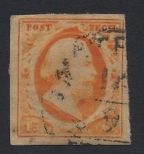 NETHERLANDS 1852 15c DEEP YELLOW ORANGE 4 MARGIN