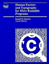 Human Factors and Typography for More Readable Programs by Baecker, Ronald M.,