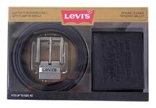 NEW LEVI'S LEATHER REVERSIBLE BELT PASSCASE BIFOLD ID WALLET SET BLACK 41LP2402