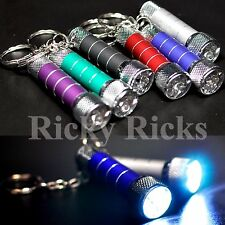 3 Portable LED Mini Flashlights Light Up Torch Keychain KeyRing Key Chain