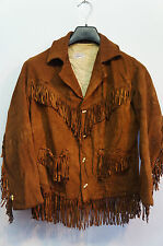 VINTAGE anni'30 Leyva'S LEATHER nappe Country Western Cowboy Giacca Taglia XS
