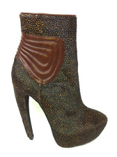 Jeffrey Campbell Jonsey Curve Heel Ankle Boot Black/Brown Pony Hair, Size 8