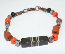 Orange black brown wood bead & tibetan silver beads bracelet copper tone clasp