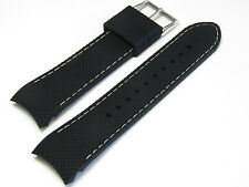 24mm Hadley-Roma MS3375 Black White Silicone Rubber Curved End Watch Band Strap