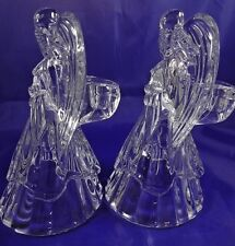 Pair of DePlomb Crystal Angel Candle Holders Candlesticks Made In USA Christmas