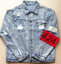NWT 424 Four Two Four Mens Broken Hole Hiphop Jean Denim Jackets Zip-Sleeve Coat