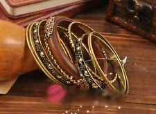 Woman Vintage Wood Carved Multi Bangle Wristband Cuff Bangle Bracelets