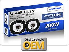 """Renault Espace Front Door speakers Alpine 13cm 5.25"""" car speaker kit 200W Max"""