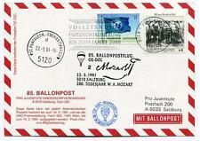 1991 Ballonpost n. 85 Pro Juvent. OE-DZC St.Pantaleon Entkolonialisierung Mozart