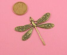 BEAUTIFUL DECORATIVE ANTIQUE BRASS DRAGONFLY MOTIF W/TOP RING - 1 PC