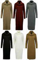 Ladies High Cowl Neck Dress Womens Long Sleeve Midi Cable Knitted Jumper Top