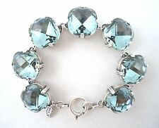 CATHERINE POPESCO 16mm Indian Sapphire Swarovski Crystal Silver Bracelet 7.5""