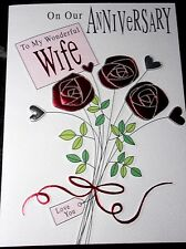 Wonderful Wife Anniversary Card by Macaroon Cards. Roses Theme. 24 available.