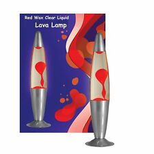 "Large Rocket 16"" 40cm Clear & Red Larva Lava Lamp Decorative Lighting Lamps UK"