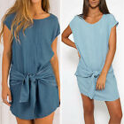 Fashion Womens Short Sleeve Jeans Long T shirt Loose Casual Denim Mini Dress
