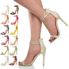 WOMENS LADIES HIGH HEEL ANKLE STRAP BUCKLE BARELY THERE PARTY SANDALS SIZE