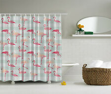 PINK FLAMINGOS STRIPES REPEATING PATTERN TROPICAL FLORIDA BIRD SHOWER CURTAIN