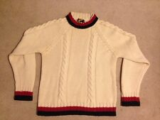 Mens Cream/Red/Blue Diplomat 100% Virgin Wool Sweater, Size Med