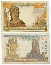 FRENCH INDO CHINA 5 PIASTRES P 55 CIRCULATED