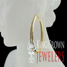 LARGE PAVE HOOP LOOP EARRINGS LAB DIAMOND MEN LADIES YELLOW GOLD STERLING SILVER