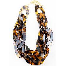 OVERSIZED CHUNKY TORTOISE DOUBLE CIRCLE LINK CHAIN STATEMENT NECKLACE