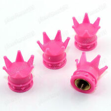 Universal Pink Crown Tire air Valve Stem Caps Car Truck Bike ATV Wheel Rims