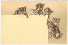 POSTCARD CATS SIX EMBOSSED EARLY UNSIGNED HELENA MAGUIRE