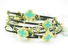 6 YELLOW GOLD STEEL TWO TONE STACKABLE CABLE BANGLE GREEN CLOVER BRACELETS GIFT