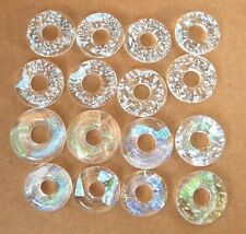 Lot 16pcs rings DICHROIC earrings pendant FUSED GLASS lampwork (Bi16) CABS