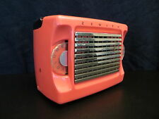 VINTAGE OLD 1950s ZENITH ART DECO ANTIQUE SOLID SALMON PLASTIC PINK TUBE RADIO