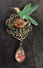 Hummingbird Flower Enameled Metal Pin Broach Jewelry Sadie Green Victorian Style