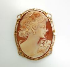 Unusual Antique Early 20c 14K Rose Gold Filigree Carved Cameo Pendant Brooch