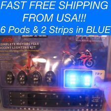 8 Pc Blue LED Neon Glow Interior Universal Car Truck Accent Lighting Kit