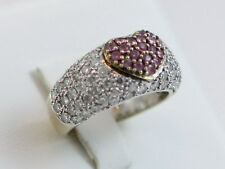 18kt Unique White Gold Pink Sapphire Heart Pave Diamond Band Ring