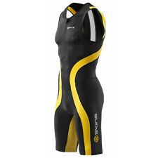 Skins TRI 400 Men's Skinsuit with Front Zip Black/Yellow Medium