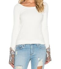 Free People New  Newbie Bali Babe Thermal Top Shirt NWT in Ivory M